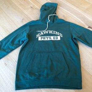NIKE Stranger Things Hawkins Phys Ed green hoodie